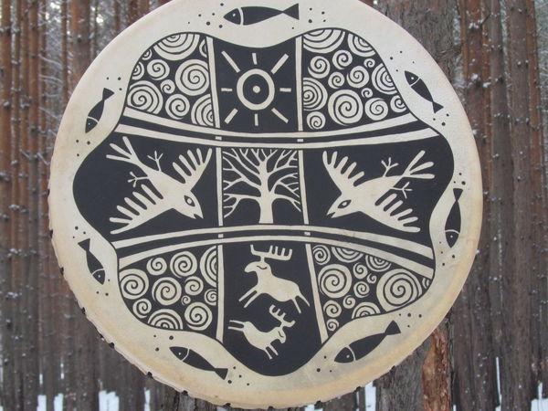 Зимний лес. Бубен кожаный. 40 см. - звучание | Ярмарка Мастеров - ручная работа, handmade