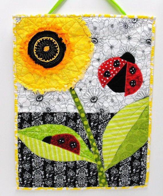 Wall art quilt fringed triple poppy and by moonspiritstudios,
