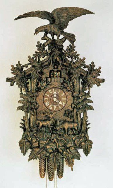 Eagle Cuckoo Clock, Rutting Stags, Hand Carved Model #8TMT 147/9.