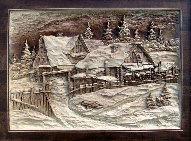 Виктор Дубовик. Резная картина из дерева. Шестнадцатая