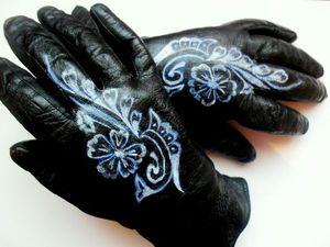 Роспись кожаных перчаток. Ярмарка Мастеров - ручная работа, handmade.