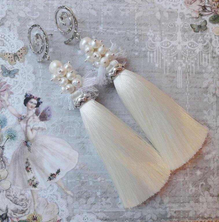 серьги кисти, свадебные серьги, серьги с жемчугом, креативные серьги, жемчужные серьги, серьги невесте, свадебные украшения