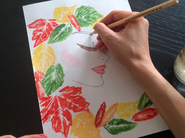 Осенний рисунок отпечатками листьев: видео мастер-класс | Ярмарка Мастеров - ручная работа, handmade