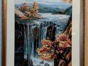 """НОВИНКА! Картина вышитая крестом """"Водопад"""". Ярмарка Мастеров - ручная работа, handmade."""