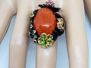НОВИНКА! Шикарное кольцо с крупным огненным опалом. Эксклюзив. Ярмарка Мастеров - ручная работа, handmade.