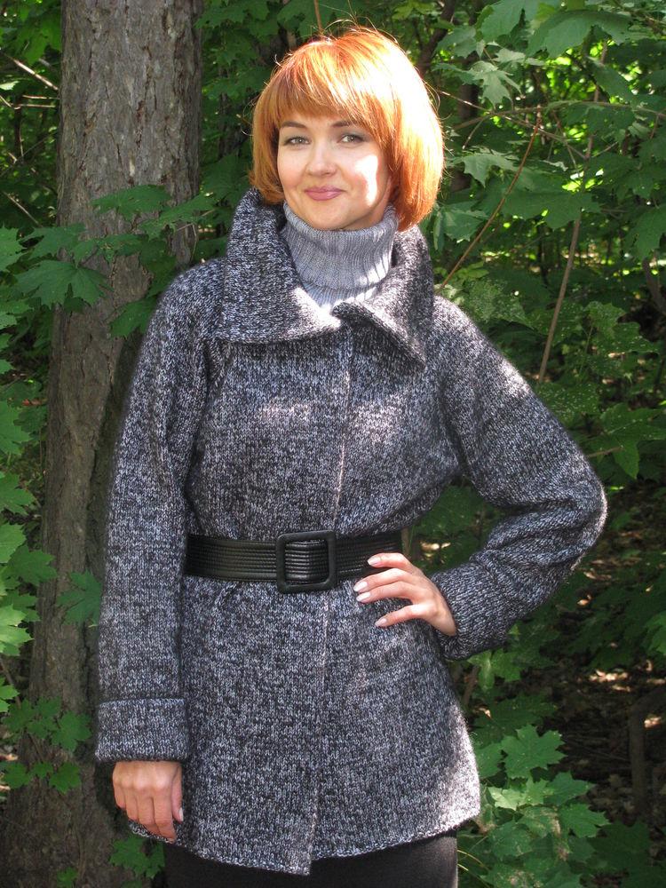 пальто вязаное