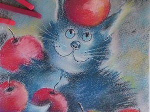 Мастер-класс для начинающих: рисуем пастелью кота с яблоками. Ярмарка Мастеров - ручная работа, handmade.