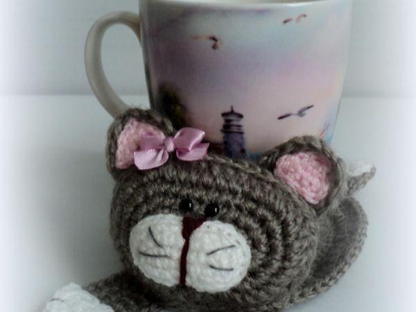 Вяжем крючком котика-подставку под чашку   Ярмарка Мастеров - ручная работа, handmade