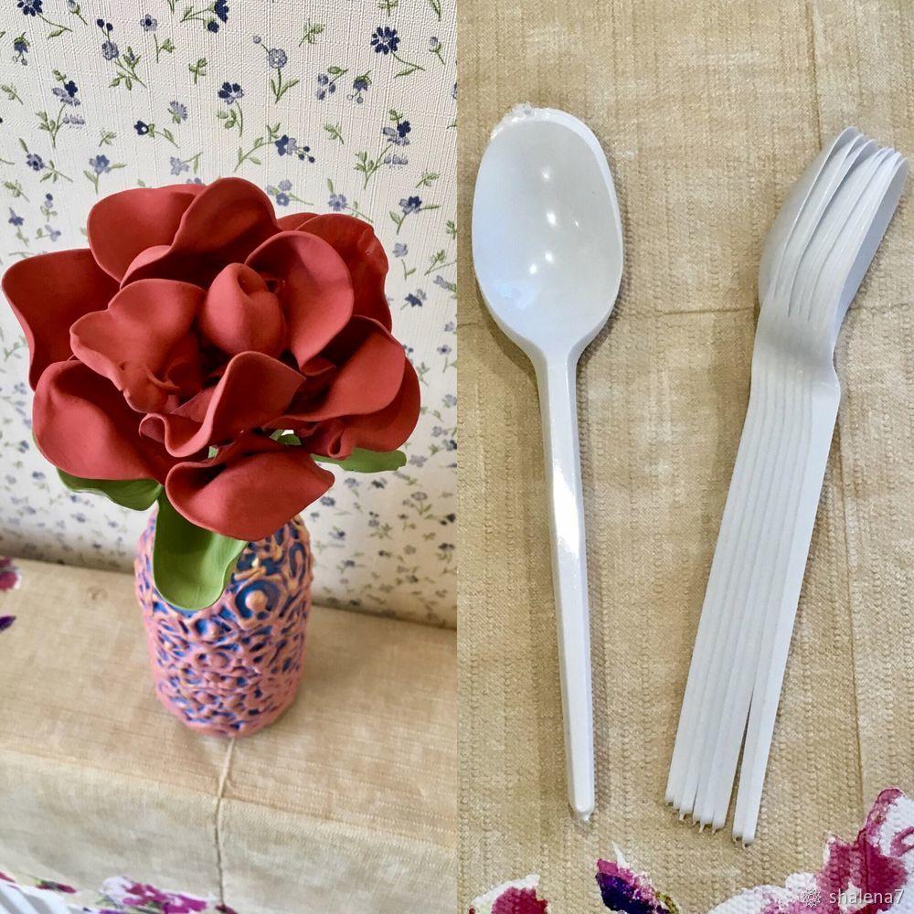 пластиковые ложки поделки, роза из пластиковых ложек, как сделать цветок, пластик, вторая жизнь
