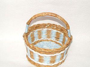 Новая работа. Разноцветная плетеная корзинка. | Ярмарка Мастеров - ручная работа, handmade