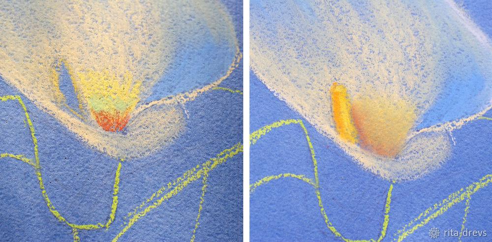 Рисуем пастелью изящный цветок каллы, фото № 6