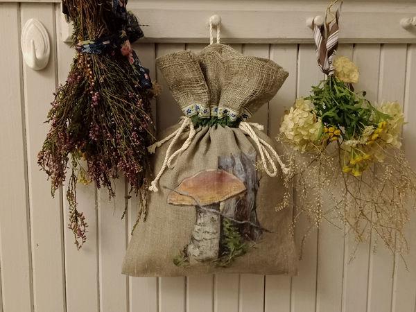 Поспели льняные мешочки для грибов | Ярмарка Мастеров - ручная работа, handmade