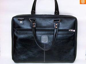 """ПРОДАНА! Готовая мужская кожаная сумка Folder размером под ноутбук 15,6"""" ищет хозяина! Скидка!. Ярмарка Мастеров - ручная работа, handmade."""