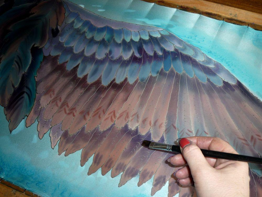 крылья, натуральный шелк