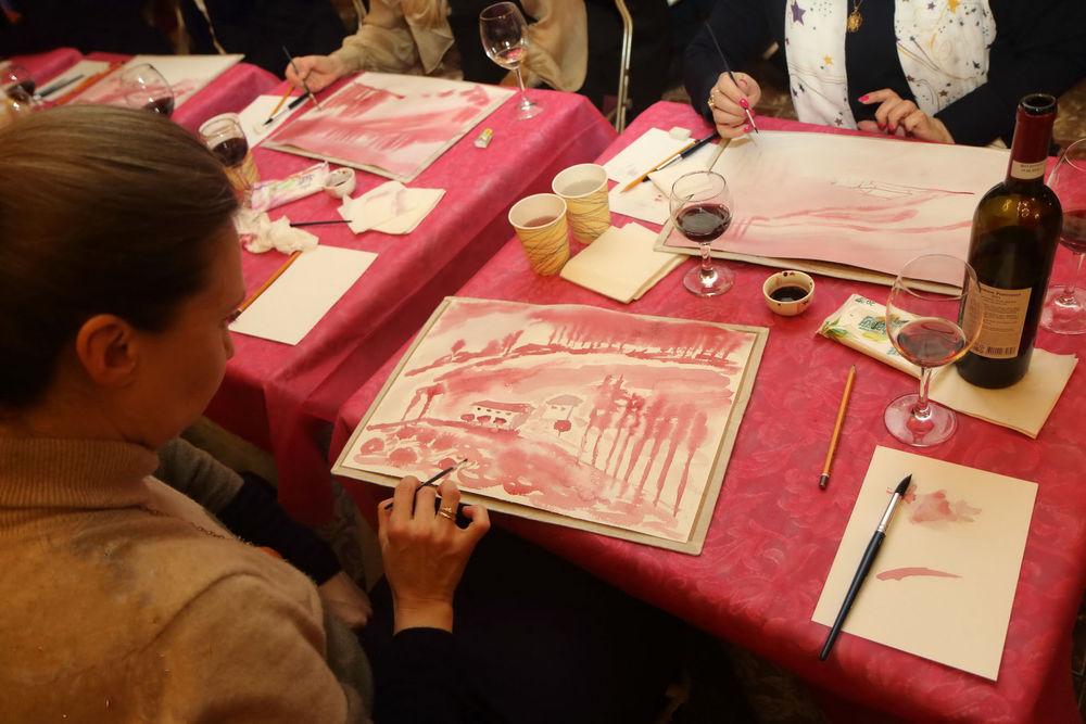 рисование, рисование ручной работы, мастер-классы, мастер-класс в москве, рисование тушью, мастер-класс виноградники, живопись вином