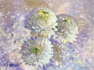 Аукцион 2 ноября! Аукцион на новую картину маслом — «Белые хризантемы». Ярмарка Мастеров - ручная работа, handmade.