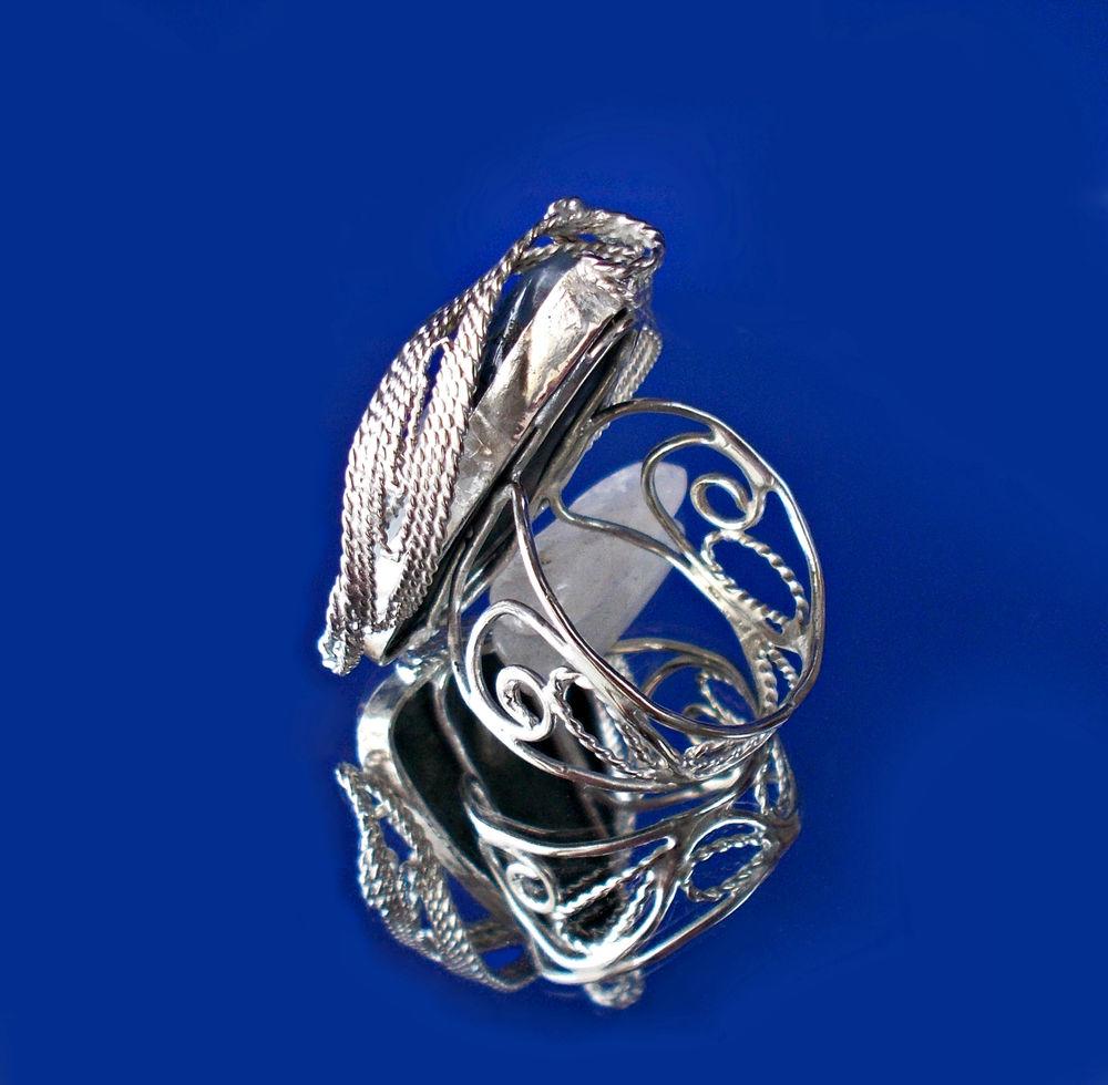 кольцо с белым агатом, кольцо ручной работы, необычное кольцо