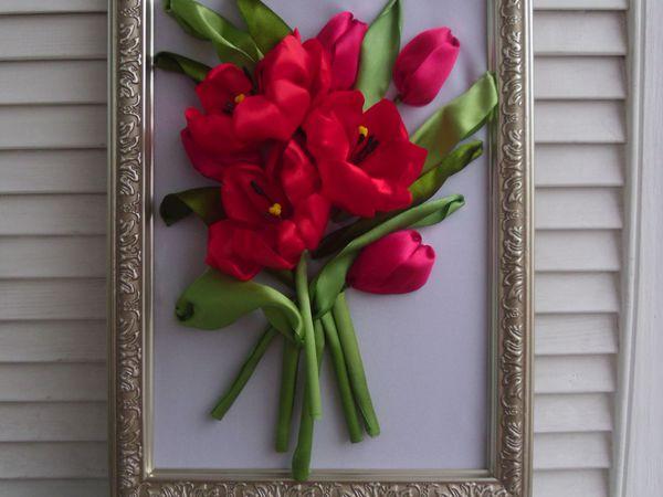 Создаем картину с тюльпанами из лент к 8 марта   Ярмарка Мастеров - ручная работа, handmade