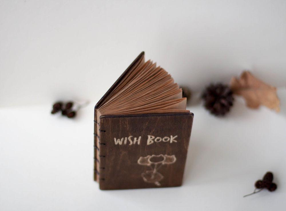 крафт блокнот, подарок на новый год, woodcarving