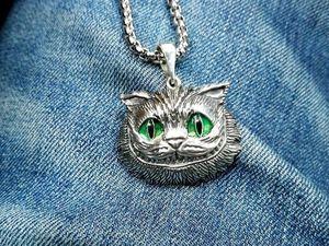 Новинка! Кулон Чеширский кот с зелеными глазами. Ярмарка Мастеров - ручная работа, handmade.