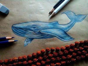 Рисуем кита цветными карандашами на крафт-бумаге. Ярмарка Мастеров - ручная работа, handmade.