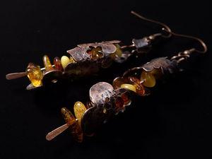 Создание медных сережек с янтарем «Марокканские фонарики». Ярмарка Мастеров - ручная работа, handmade.