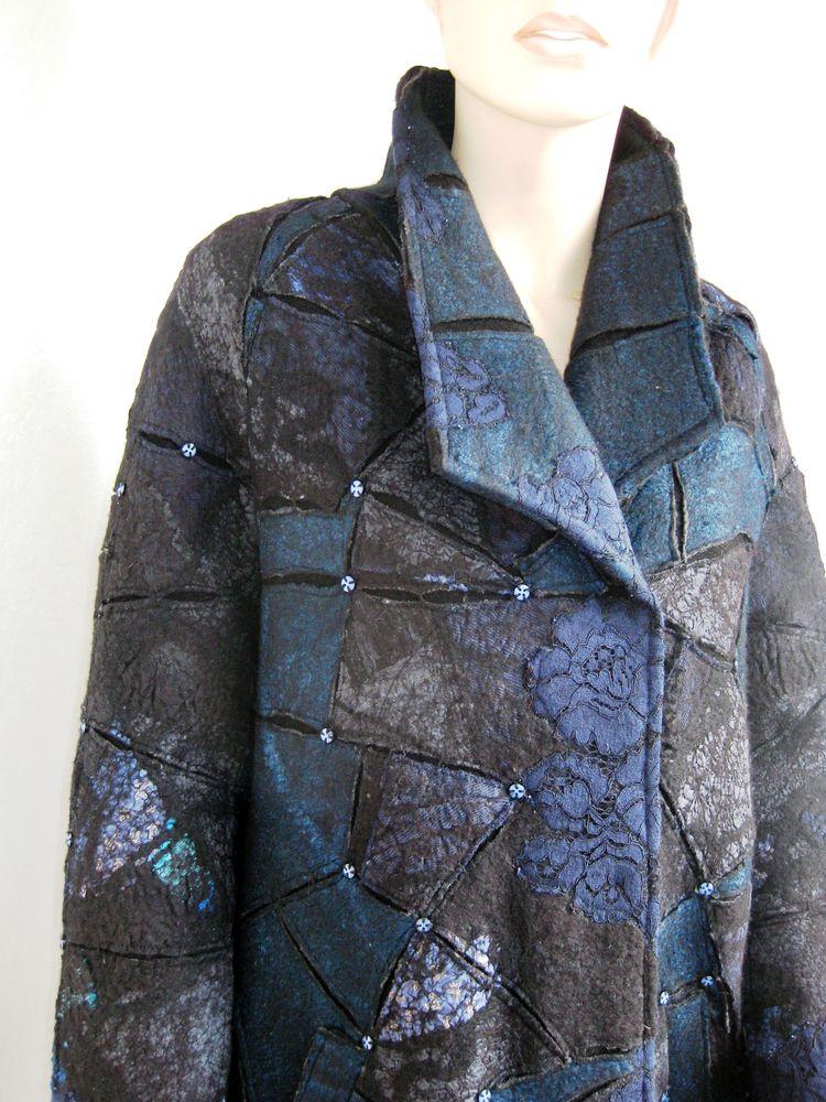 валяное пальто, синее пальто, технология