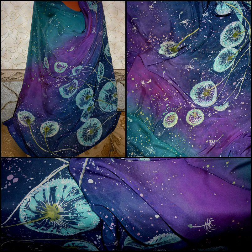 батик платок, натуральный шелк