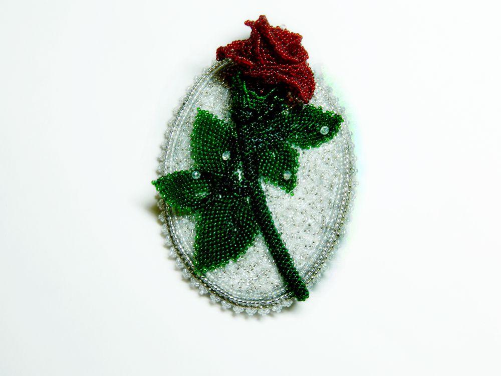 роза, елена борькова, брошь-цветок
