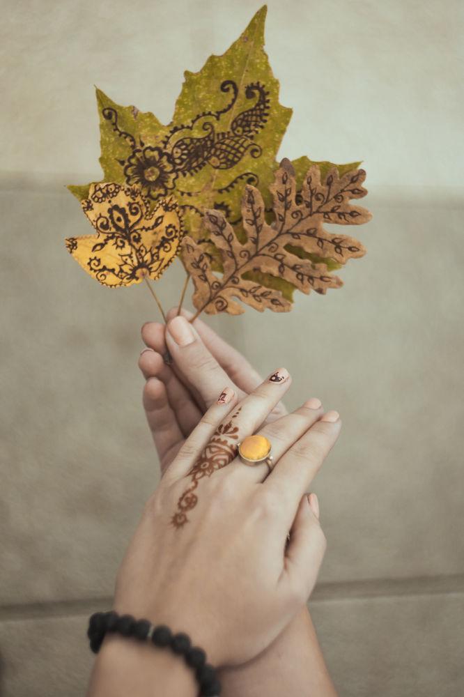 Идея для вдохновения: роспись осенних листьев в стиле мехенди., фото № 3