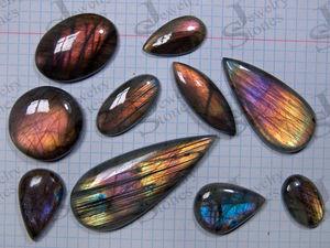 Спектролиты, фиолетовые и разноцветные кабошоны из лабрадора.. Ярмарка Мастеров - ручная работа, handmade.