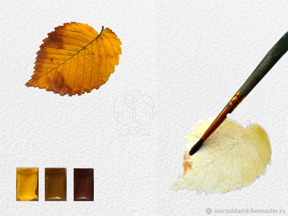 Drawing an Autumn Leaf with Watercolours, фото № 5