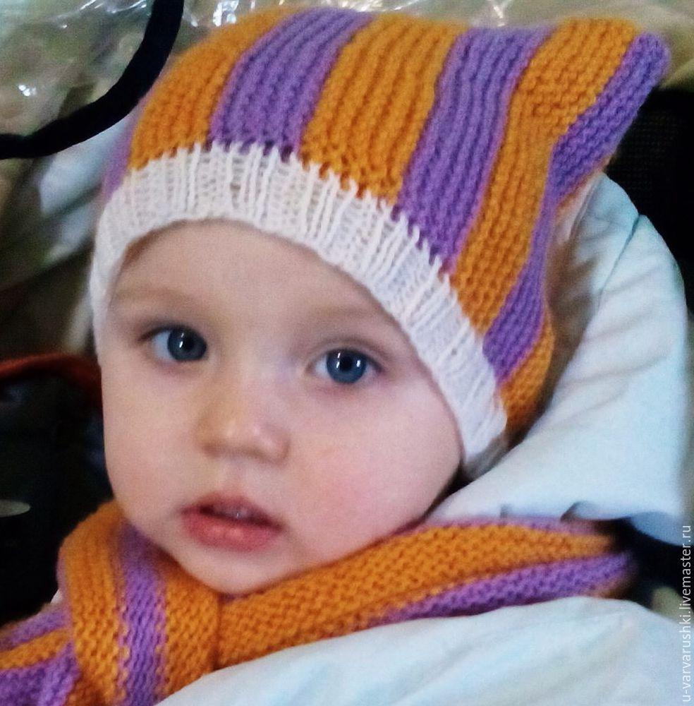 шапочка для девочки, вязание для детей