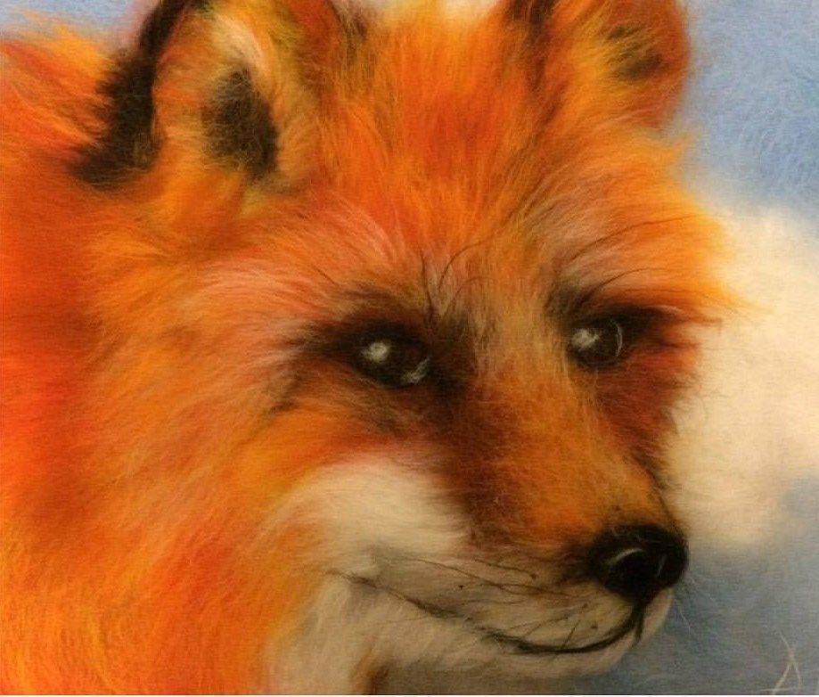 Мастер-класс  «Шерстяная живопись»  Создаем теплые картины. Лисички, фото № 6
