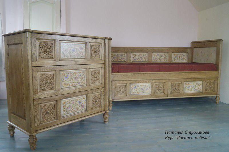 расписная мебель, обучение росписи мебели