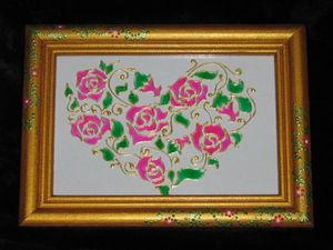 Панно-валентинка в технике витражной росписи | Ярмарка Мастеров - ручная работа, handmade