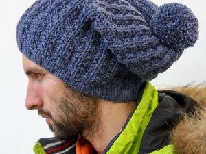 Вяжем мужскую шапку спицами. Ярмарка Мастеров - ручная работа, handmade.