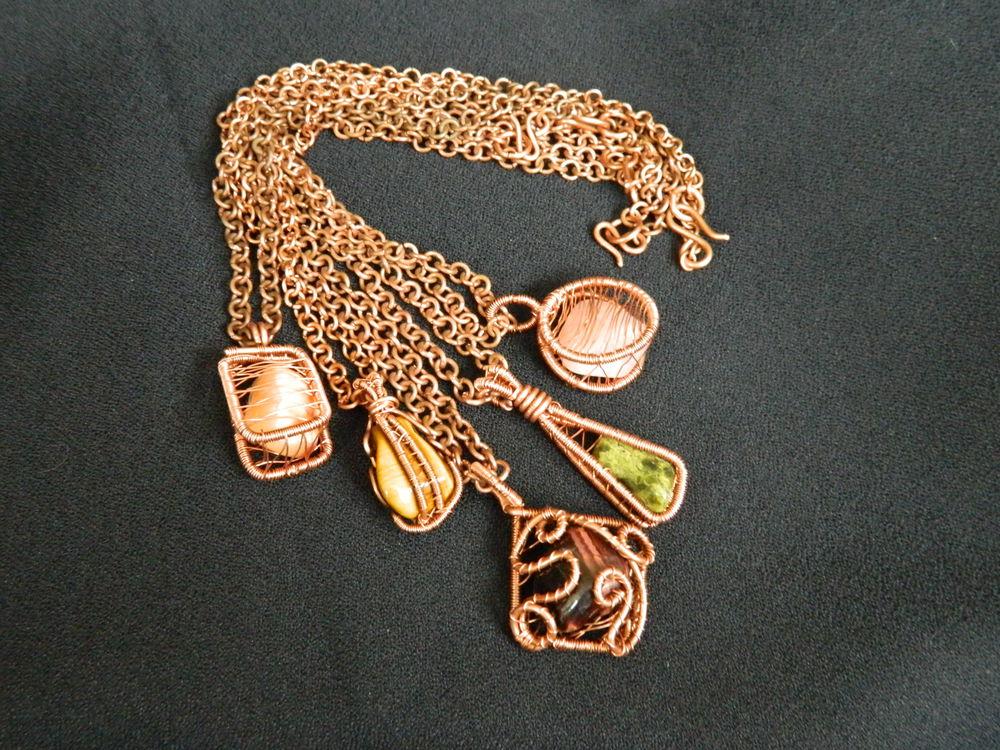 коллекция, натуральные камни, мини кулон, медные украшения, украшения из проволоки, ручная авторская работа
