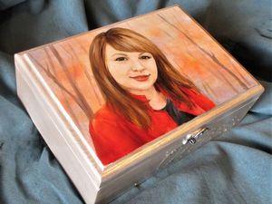 Процесс работы над росписью шкатулки с портретом по фото. Ярмарка Мастеров - ручная работа, handmade.