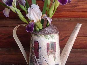 Лейка декупаж для цветов. Ярмарка Мастеров - ручная работа, handmade.