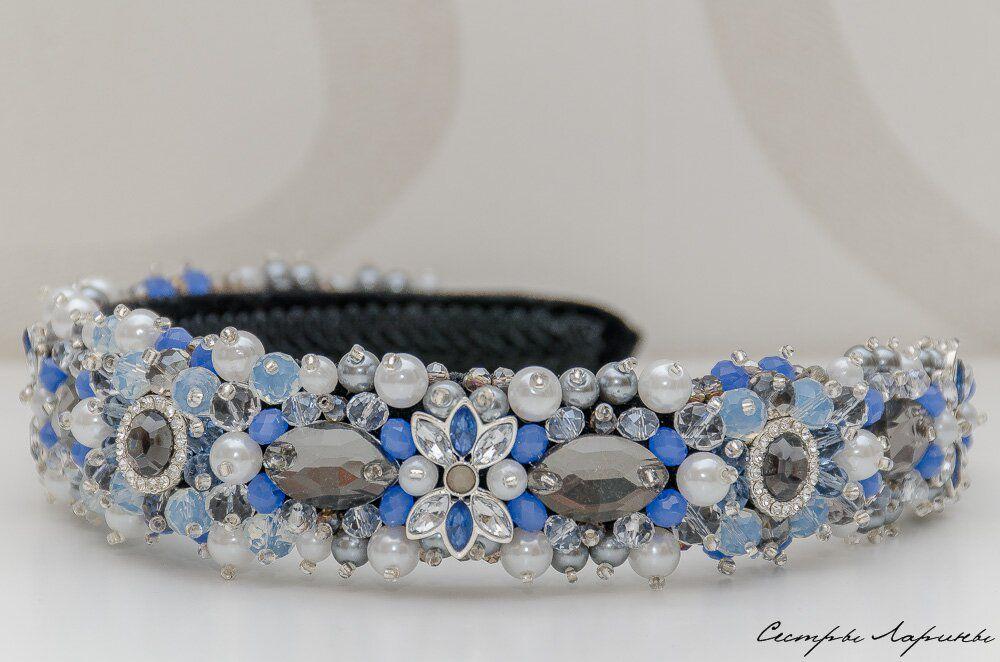 голубой, белый, ободок для волос, диадема, корона, новинка магазина
