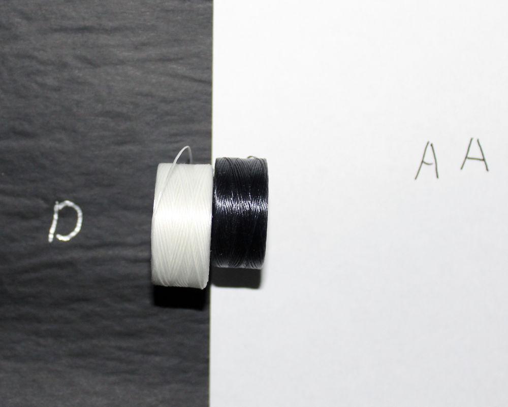 Нить для бисера S-LON. Отличие размеров AA от D
