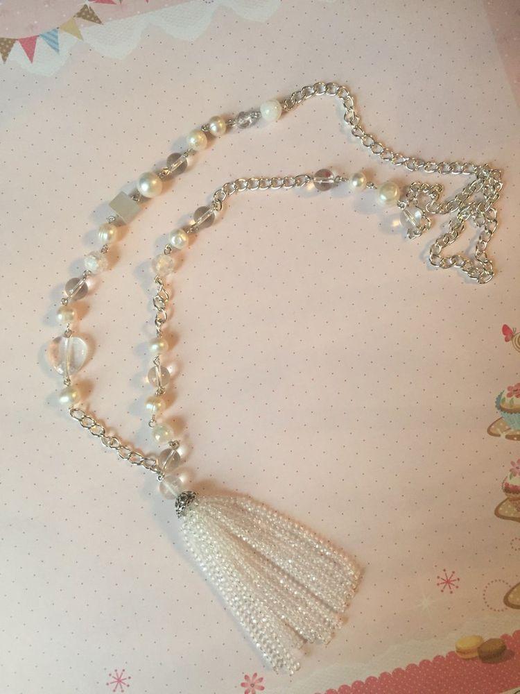 колье с кисточкой, подвеска, подарок женщине, подарок девушке, подвеска кисточка, хрусталь, подарок любимой, изящная работа, дизайнерские бусы, ожерелье