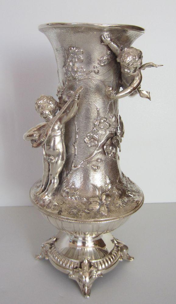 серебряная ваза, шикарная ваза