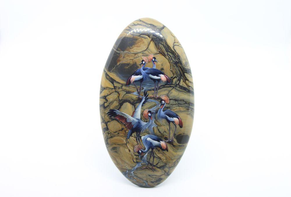 журавли, рисунок на кабошоне, аукцион сегодня