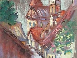 ГРАФИКА, Красные крыши, формат А4, художник А. Шуберт. Ярмарка Мастеров - ручная работа, handmade.