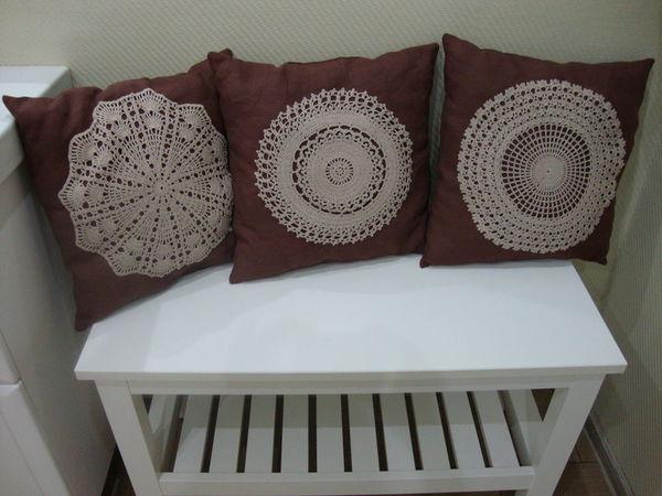 Аппетитные шоколадные подушки с моими вязаными салфетками | Ярмарка Мастеров - ручная работа, handmade