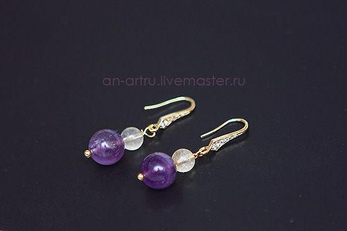фиолетовый браслет, купить браслет цитрин