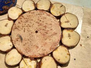 Делаем оригинальные деревянные часы из спилов. Часть 1. Первое склеивание. Ярмарка Мастеров - ручная работа, handmade.