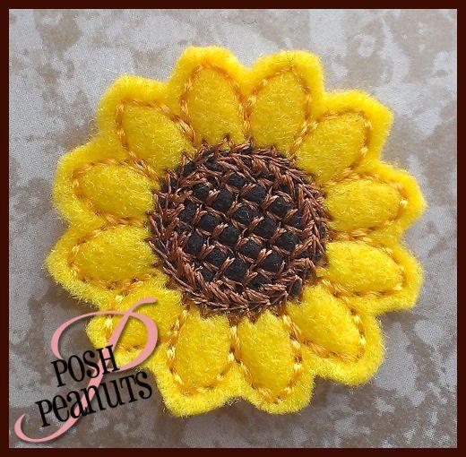 UNCUT Machine Embroidered Hand Made Felt / Felties Sun Flower Embellishments / Appliques